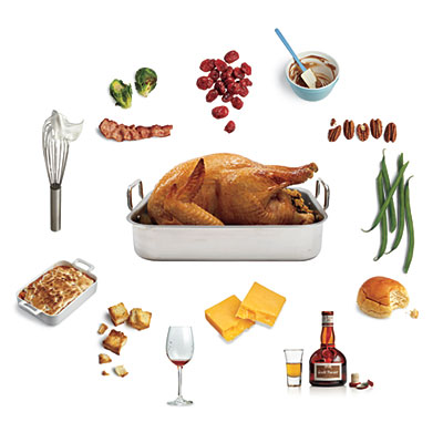 Turkey with circle of different foods
