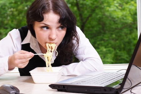 Distracted Eating Woman