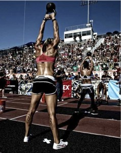 CrossFit Games Women with Kettlebell