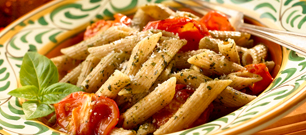 Whole Wheat Penne with Pesto and Roasted Tomato Sauce