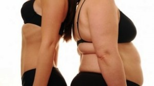 obese and skinny women