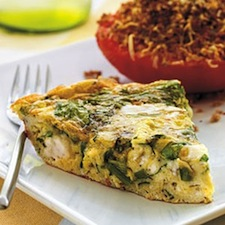 Spinach frittata on plate