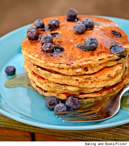 Whole-wheat buttermilk and blueberry pancakes
