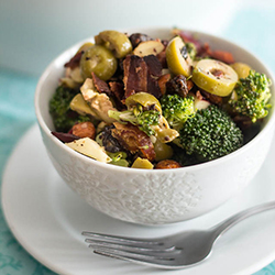 Broccoli, Apple & Almond Salad with Crumbled Bacon