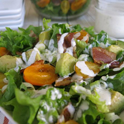 BLT Salad with Avocado and Healthy Ranch Dressing
