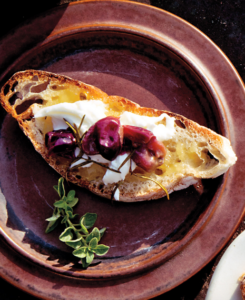 roasted grape burrata crostini